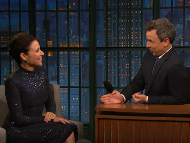 Julia Louis-Dreyfus and Seth Meyers talk shop about making politics funny in a Donald Trump world
