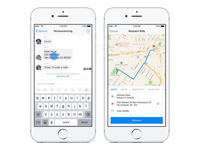 Тепер ви можете замовити Uber з Facebook Messenger