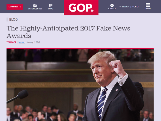 Donald Trump's Fake News Awards Website Looks Like Shit, Immediately Crashed