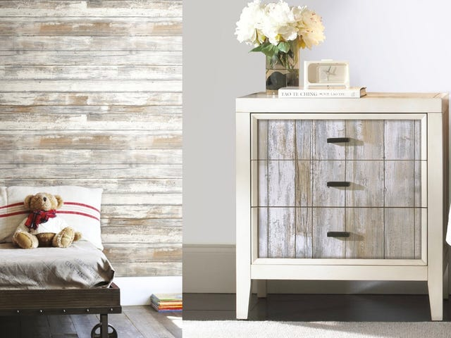 Stick On Some Distressed Wood Wallpaper For Just $21