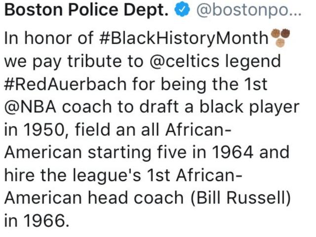 Boston Police Department Celebrates Black History Month by HonoringWhite Man
