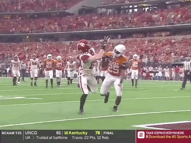 Grant Calcaterra dell'Oklahoma rende imponente One Touch Handdown Catch To Ice Big 12 Championship