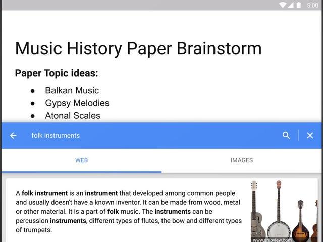Google Docs agrega un modo de investigación en la aplicación, dictado y más