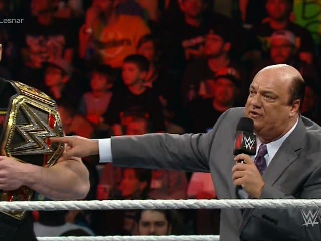 "Heyman Promo: Brock Lesnar vil ""forene"" UFC og WWE titlene"