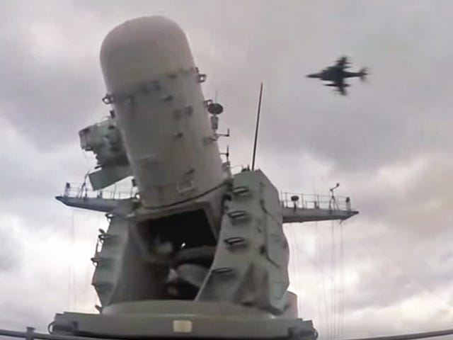 Watch As This Phalanx Close-In Weapon System Desperately Tries To Blow A Harrier To Bits