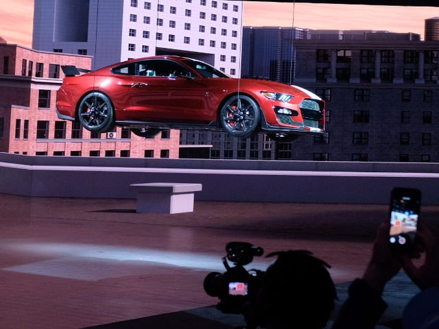 A 2020 Ford Mustang Shelby GT500 Is Still Hanging From the Ceiling at the Detroit Auto Show
