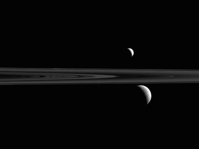 Can You Find the Third Moon in this Glorious View from Saturn?
