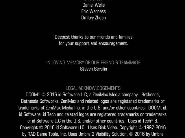 <i>Doom</i> créditos de <i>Doom</i> rinden tributo al desarrollador que falleció