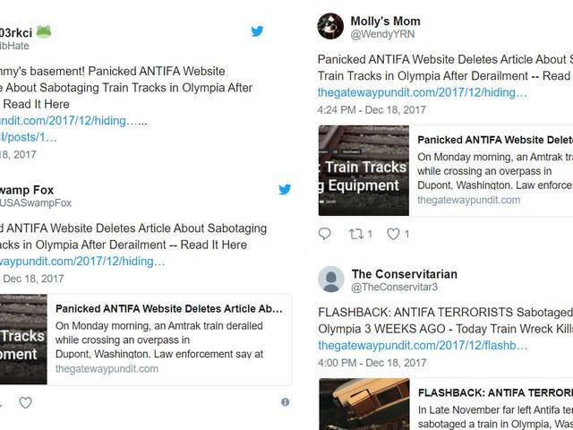 Twitter Fools Wonder If Amtrak Train Derailment Was Antifa Sabotage