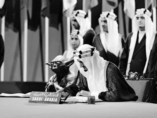 Saudi schoolbook depicts Master Yoda at the UN.