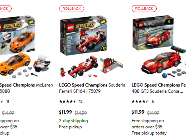 Time Rule: Lego Speed ​​Champions Markdown på Walmart