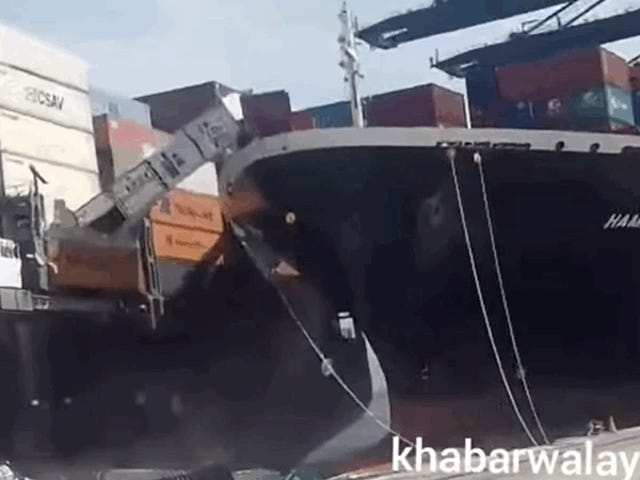 Cargo Ship Crashes Into Cargo Ship Sending Cars Falling Into The Water