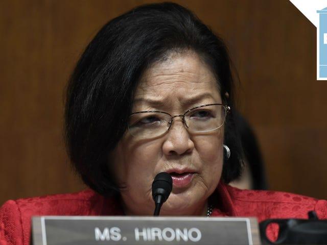 Il senatore Hirono è venuto per il collo del procuratore generale Barr
