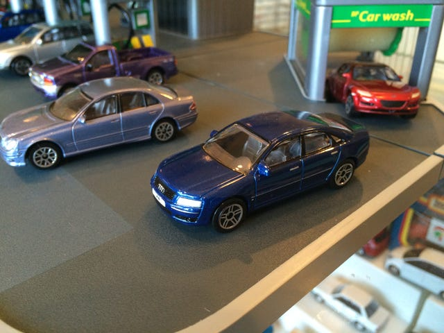 Real toy cars at the BP station