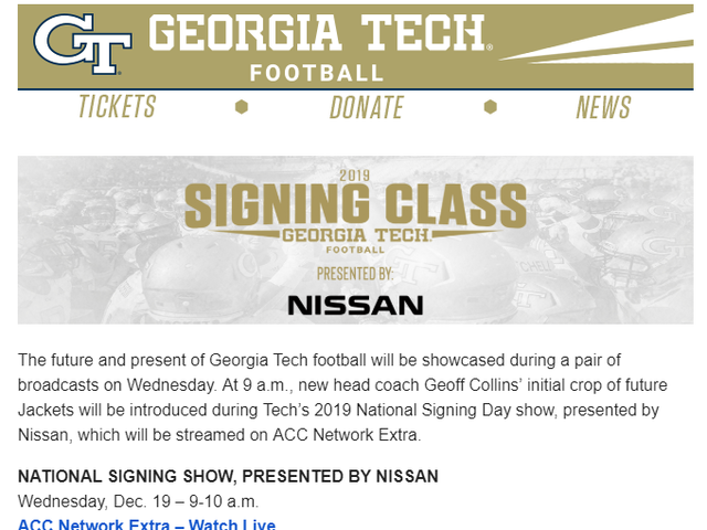 It appears Georgia Tech Athletics is sponsored by Nissan