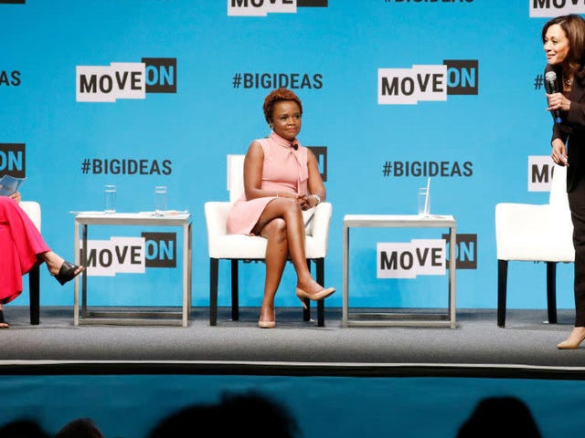 Some Dude Snatched Kamala Harris's Mic as She Talked About the Wage Gap