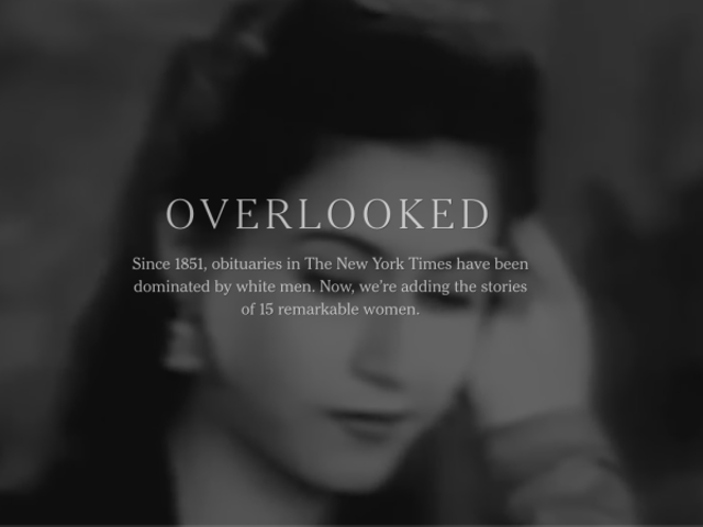 New York Times Launches 'Overlooked' to Honor Women With the Obits They Never Got