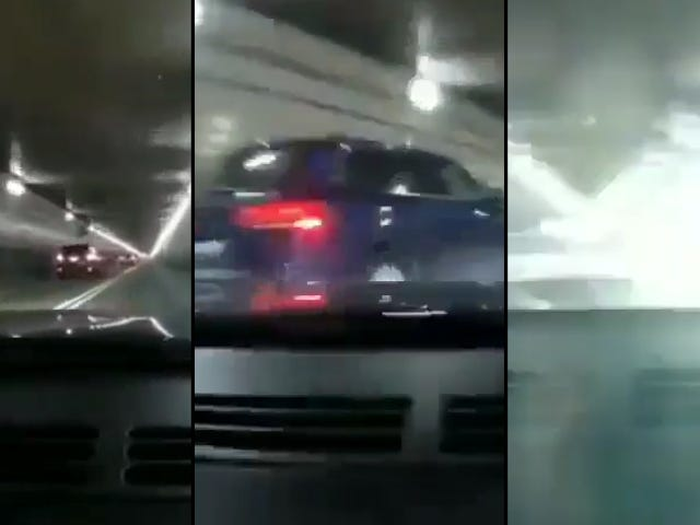 Father And Son Racing Corvettes In Tunnel Crash And Pinball Into Other Cars