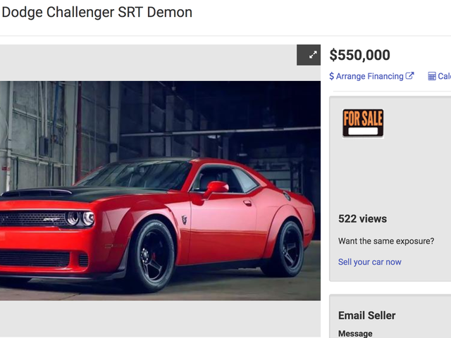 Someone's Really Trying To Sell A Used Dodge Challenger SRT Demon For $550,000