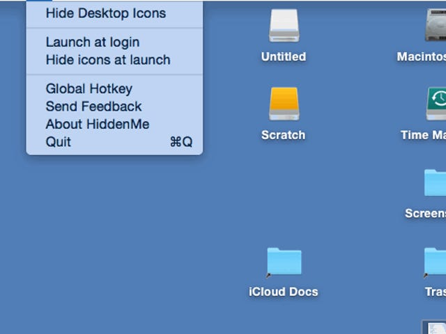 HiddenMe Hides all Your Mac Desktop Icons in One Click