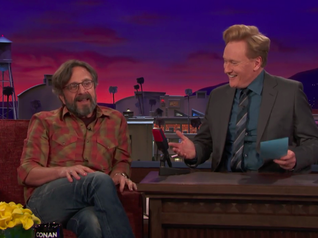 Marc Maron marks 25 years on Conan O'Brien's shows by being Marc, but with a guitar