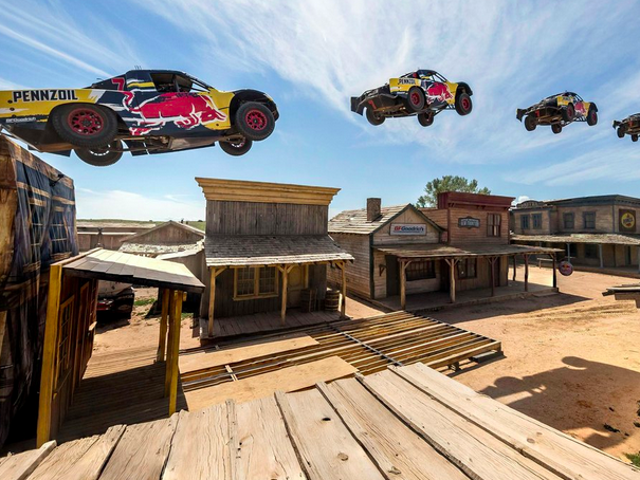 Watch A Truck Jump 379 Feet Across A Ghost Town, A Totally Pointless But Awesome World Record