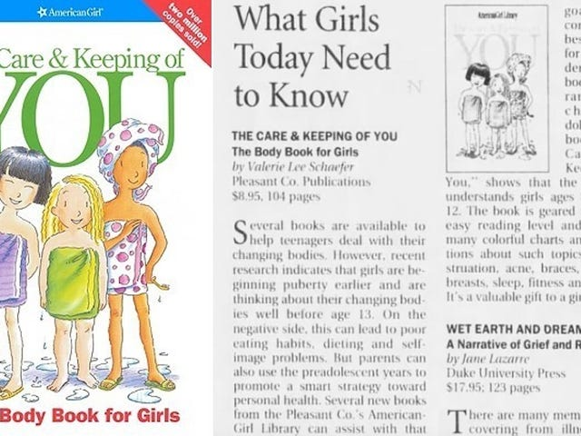 American Girl's Puberty Bible The Care and Keeping of You Turns 20