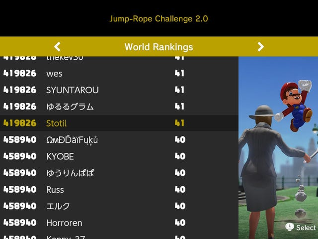 I'm Okay With 419,826th Place In <i>Mario Odyssey</i>'s Jump Rope Challenge