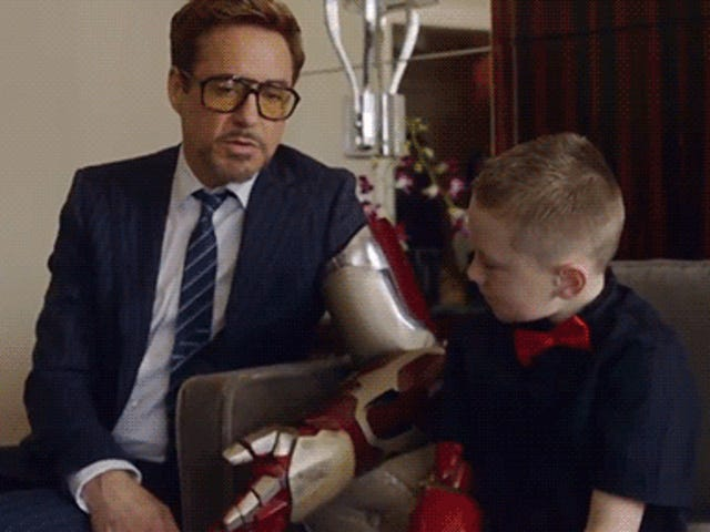 Robert Downey Jr. delivers real Iron Man bionic arm to armless kid