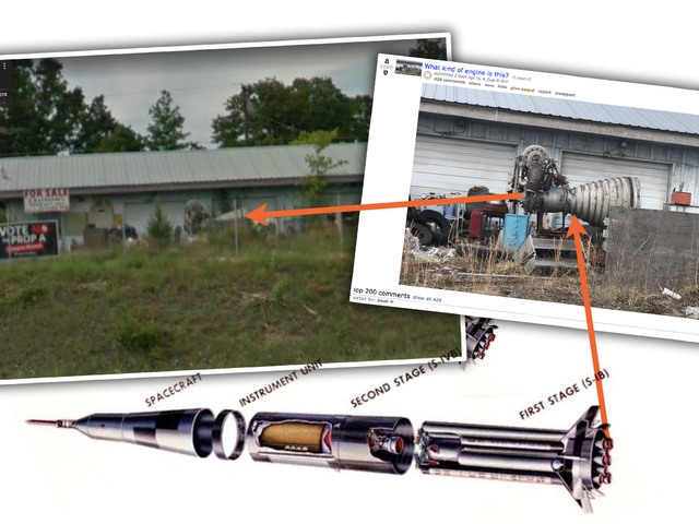 किसी ने मिसौरी के एक कबाड़खाने में एक सैटर्न रॉकेट मोटर जस्ट सिटिंग की खोज की