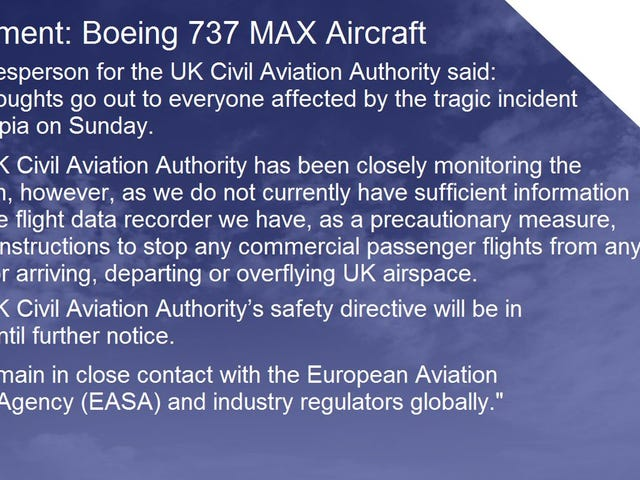 737 Max Grounded in the UK, Overflights Also Prohibited