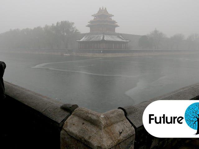 写真では:中国は厚く危険なスモッグで包まれています