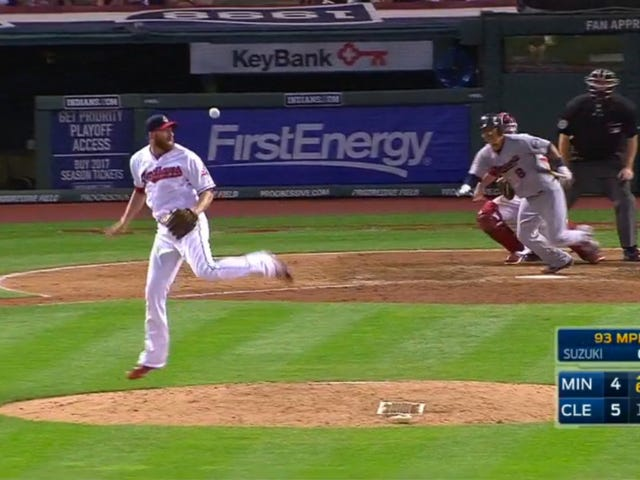 Zach McAllister Makes Incredible Hacky Sack Catch After Getting Nailed With A Liner