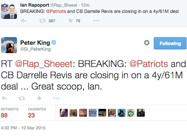 Peter King Retweets Faux compte Ian Rapoport annonçant Revis Deal