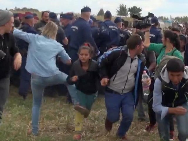 Hungarian Camerawoman Who Kicked Refugees Given Three Years Probation
