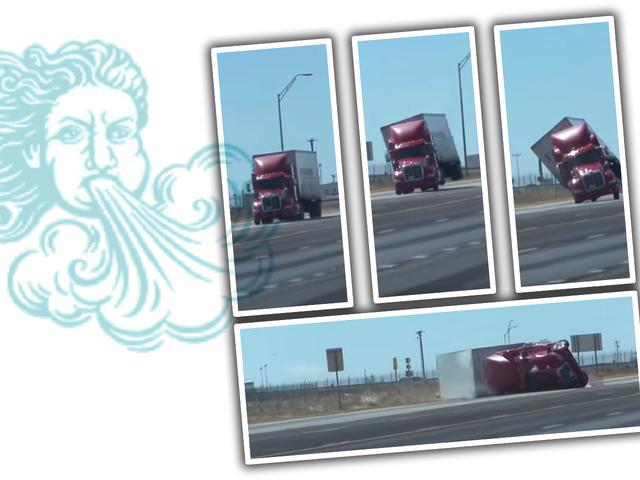 Regarder un camion semi se faire renverser par le vent, car la nature en a marre de notre merde