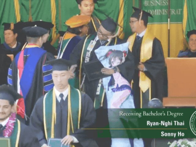 Man And His Anime Hug Pillow Graduate From College