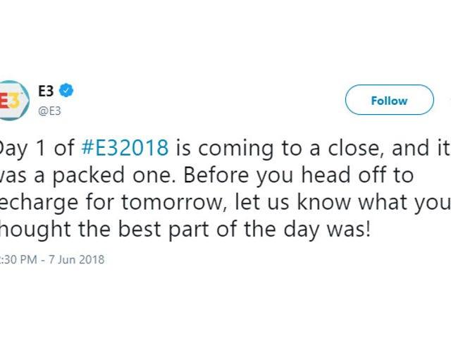 Nếu bạn có bất kỳ câu hỏi nào về tương lai, tài khoản Twitter chính thức của E3 đã có mặt ở đó, tôi đã thấy
