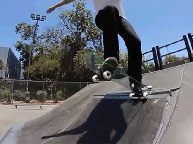 Skating på et glass Skateboard slutter nøyaktig hvordan du forventer at den skal slutt