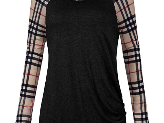 40% off Marbetia Women's Plaid Long Sleeve Cowl Neck Shirt $14.39