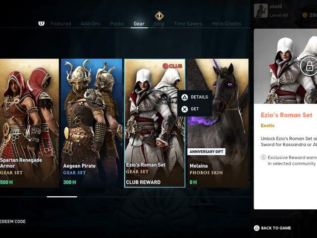 Katso Assassin's Creed Odysseyn päähenkilö Kassandraa pukeutuneena klassiseksi AC-sankariksi Ezio Audito