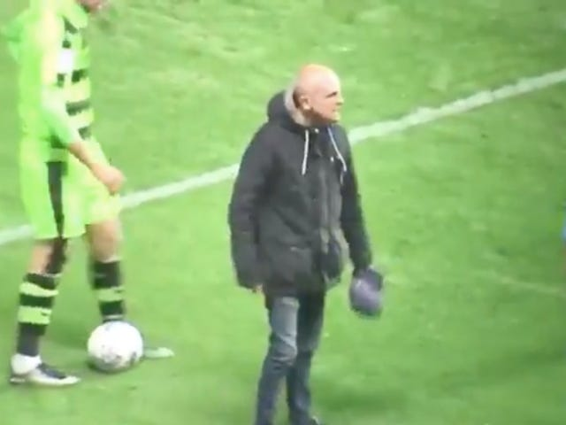 Angry Idiot Sneaks Onto Field To Berate His Team's Players
