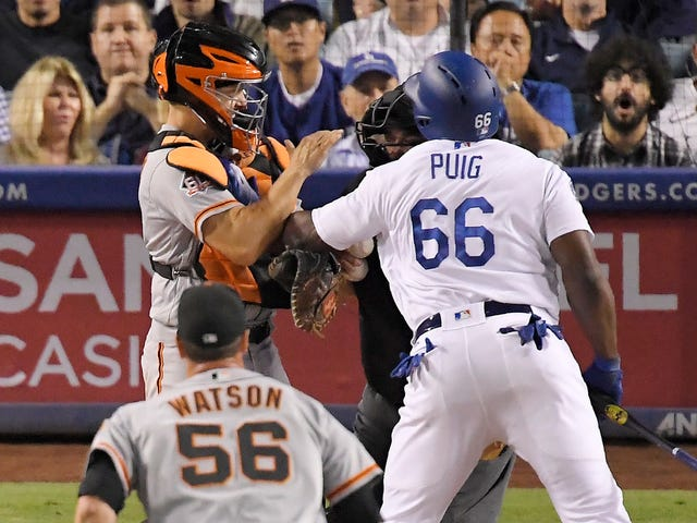 Yasiel Puig Is Fighting The Giants Again