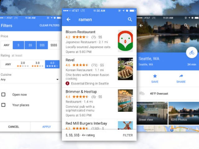 Google Maps para iOS agrega Weather Info, Better Restaurant Search