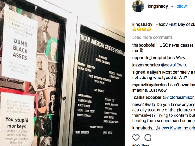 'Dumb Black Asses' and 'You Stupid Monkeys' Signs Posted at University of South Carolina for MLK Day