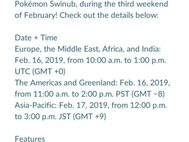 Pokemon Go February Community Day- Swinub/ Piloswine/ Mamoswine