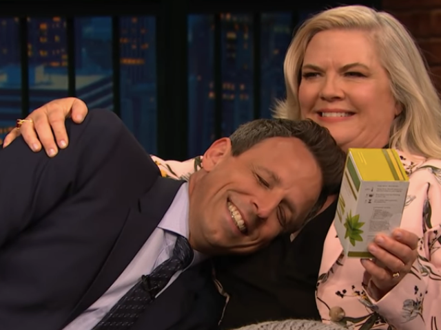 Paula Pell cradles Seth Meyers while talking Documentary Now! and new character Nana Teabags