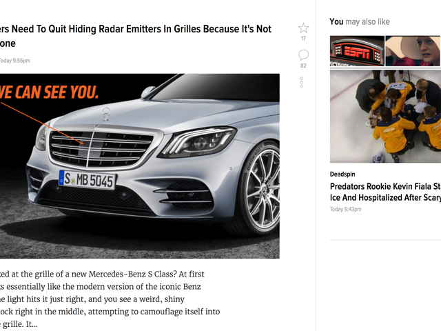 "Did Jalopnik (and all kinja-based blogs) just swap the sides of the blog posts and the ""You may also like"" suggestions?"
