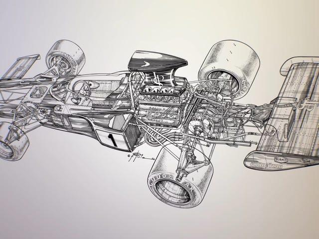 Dibujar un auto Lotus F1 para un artículo de revista no es tan simple como parece