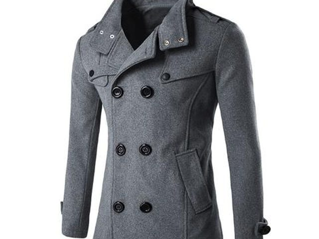 Winter Men Wool Coat Slim Fit Jackets Double Row Button Collar Outerwear